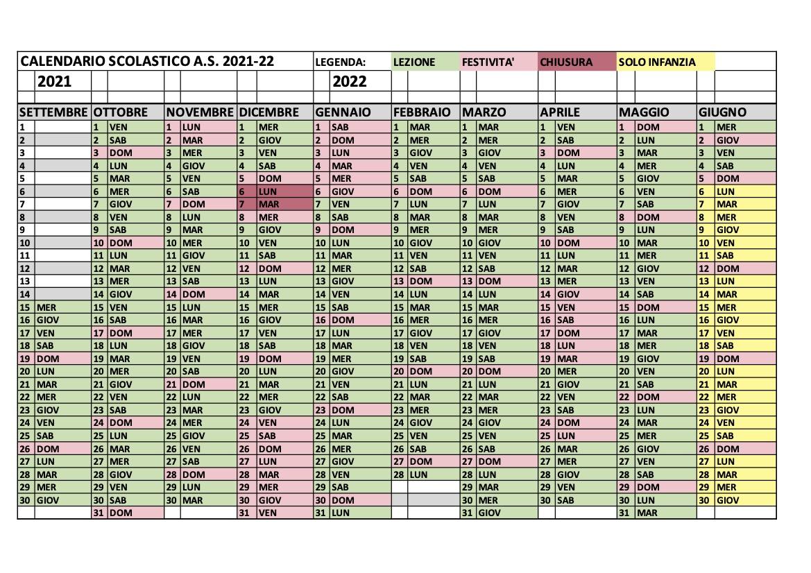 Calendario scolastico a.s. 2021-22